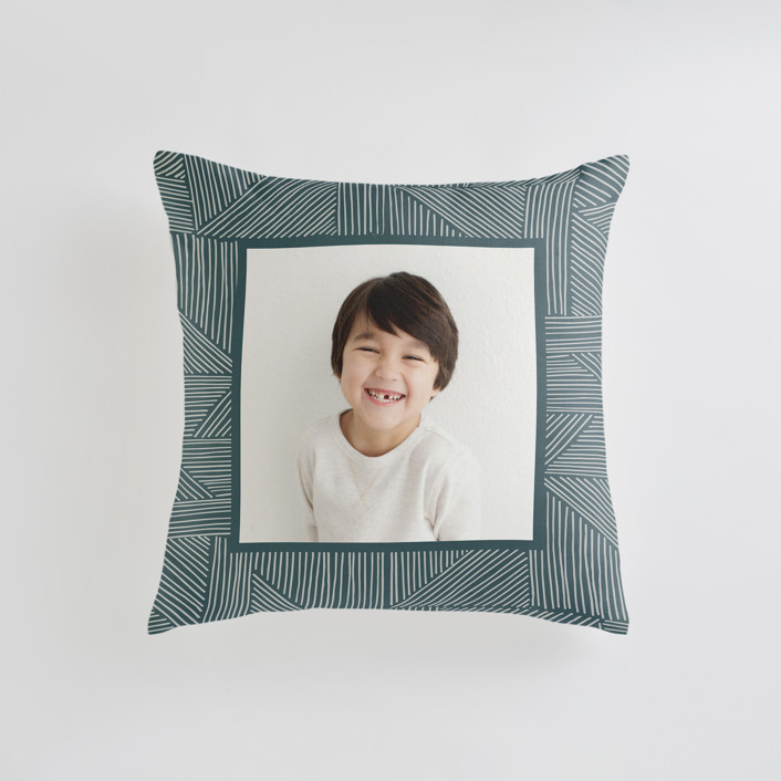 """Sketchbook Geometric"" - Small 18 Inch Photo Pillow in Spruce by Alethea and Ruth."