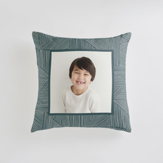 This is a green custom pillow by Alethea and Ruth called Sketchbook Geometric printing on premium cotton in standard.