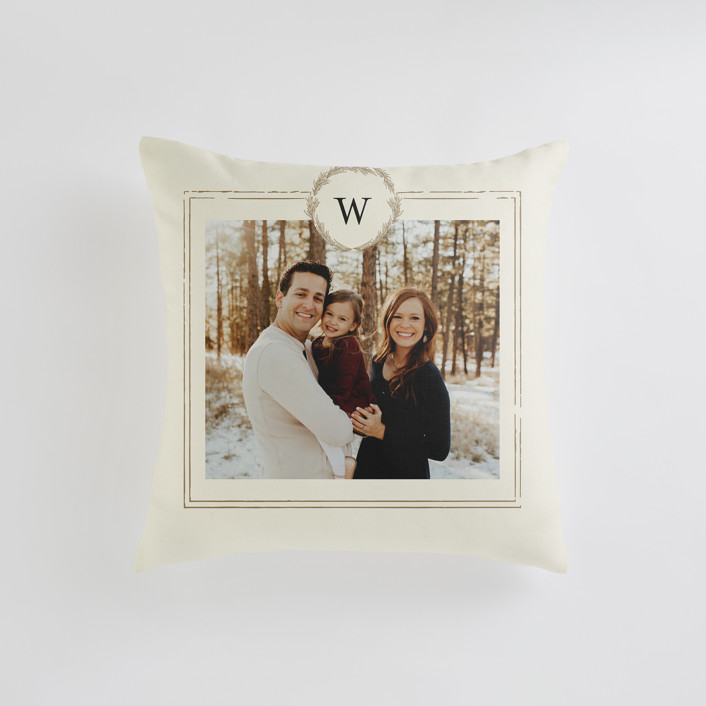 """""""Little Wreath"""" - Small 18 Inch Photo Pillow in Parchment by Phrosne Ras."""