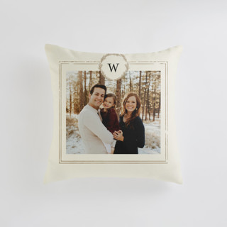 This is a beige custom pillow by Phrosne Ras called Little Wreath printing on premium cotton in standard.