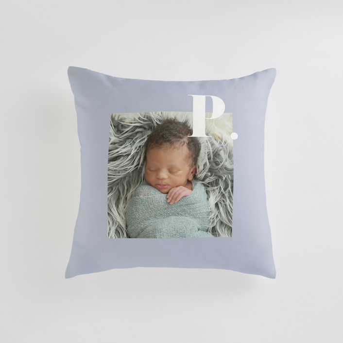 """""""Bold Capital"""" - Small 18 Inch Photo Pillow in Periwinkle by Kristen Smith."""