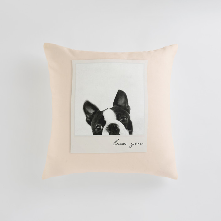 """Classic Snap"" - Small 18 Inch Photo Pillow in Blush by Minted."