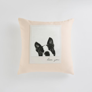 This is a pink custom pillow by Minted called Classic Snap printing on premium cotton in standard.