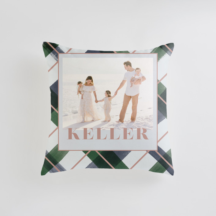 """""""Joyful Plaid"""" - Small 18 Inch Photo Pillow in Ocean by Carrie ONeal."""
