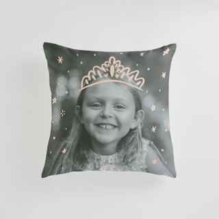 This is a pink custom pillow by Half Pint Studio called Calling All Princesses printing on premium cotton in standard.