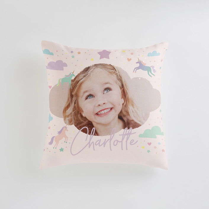"""Unicorn Dreams"" - Small 18 Inch Photo Pillow in Majestic by Jennifer Wick."