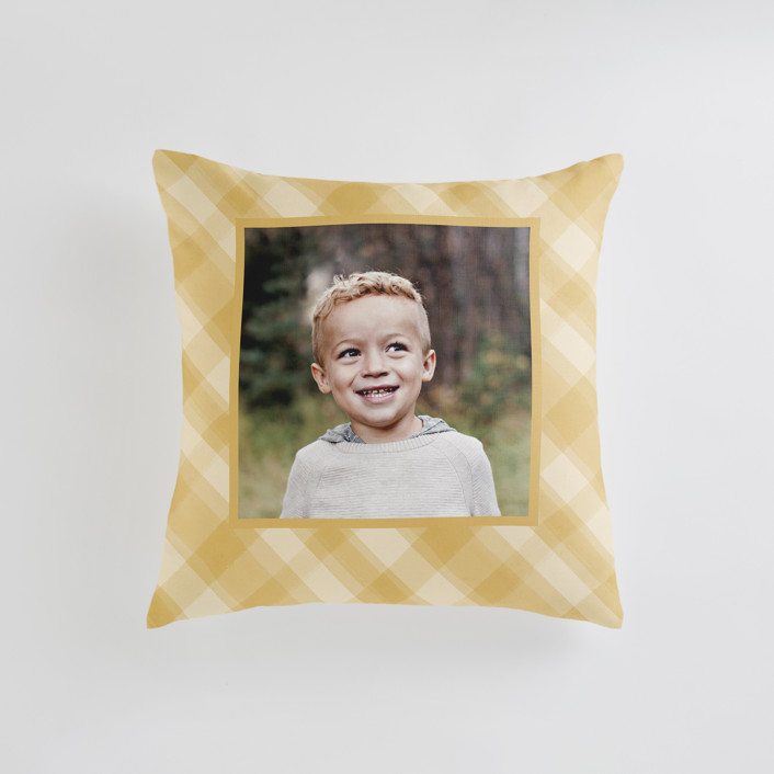 """""""Cadeau"""" - Small 18 Inch Photo Pillow in Mustard by Carrie ONeal."""