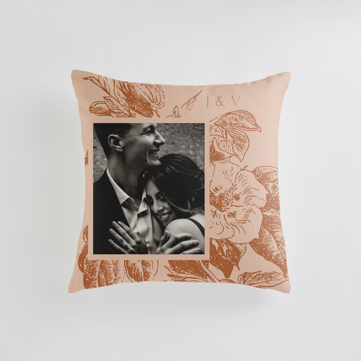 """Vintage Romance"" - Small 18 Inch Photo Pillow in Peach by Nazia Hyder."