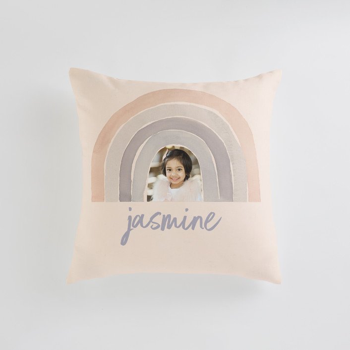 """pastel rainbow"" - Small 18 Inch Photo Pillow in Rose Blossom by Kate Ahn."