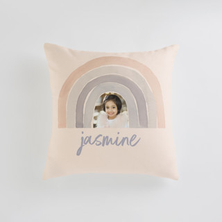 This is a pink custom pillow by Kate Ahn called pastel rainbow printing on premium cotton in standard.
