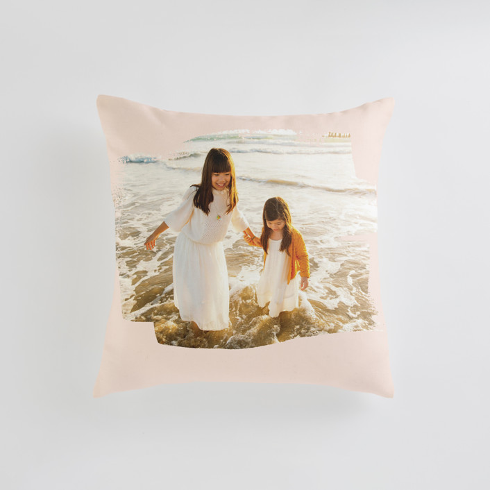 """Brushed Photo"" - Small 18 Inch Photo Pillow in Blush by Oscar and Emma - Karly Depew."