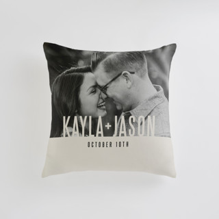 This is a grey custom pillow by Jessie Steury called Monumental printing on premium cotton in standard.