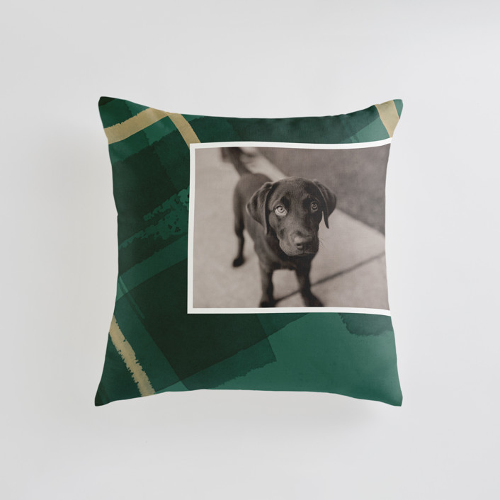 """""""Painted Holiday Plaid"""" - Small 18 Inch Photo Pillow in Christmas Tree by Shannon Chen."""