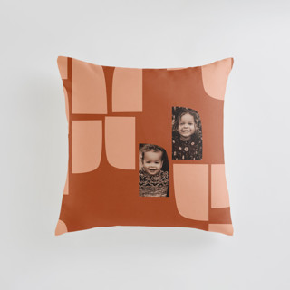 This is a brown custom pillow by Carrie Moradi called mod flock printing on premium cotton in standard.