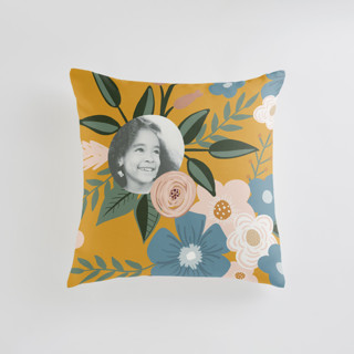 This is a yellow custom pillow by Juliana Zimmermann called Vintage Floral printing on premium cotton in standard.