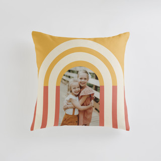 This is a yellow custom pillow by Iveta Angelova called Retro Vibes printing on premium cotton in standard.