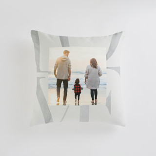 This is a grey custom pillow by Monika Drachal called Biggest Love printing on premium cotton in standard.