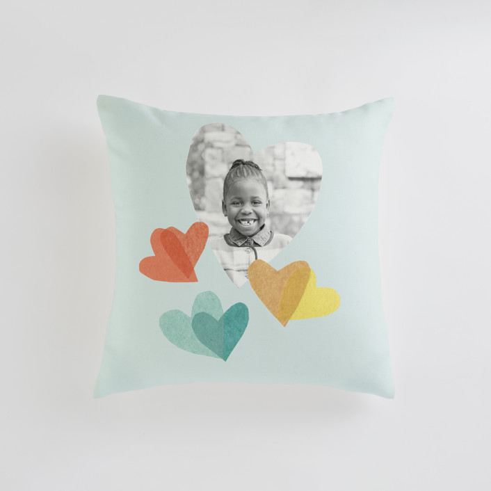 """flittering hearts"" - Small 18 Inch Photo Pillow in Robin's Egg by Carrie Moradi."