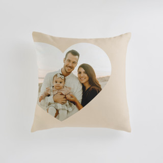 This is a beige custom pillow by Lori Wemple called Big Heart printing on premium cotton in standard.