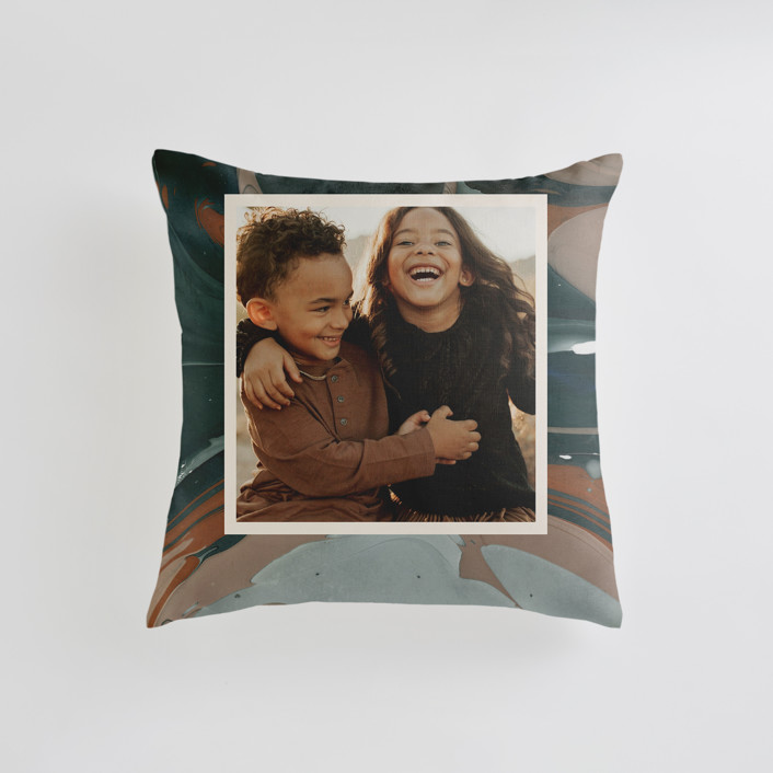 """Love Story"" - Small 18 Inch Photo Pillow in Turquoise by Kate Ahn."