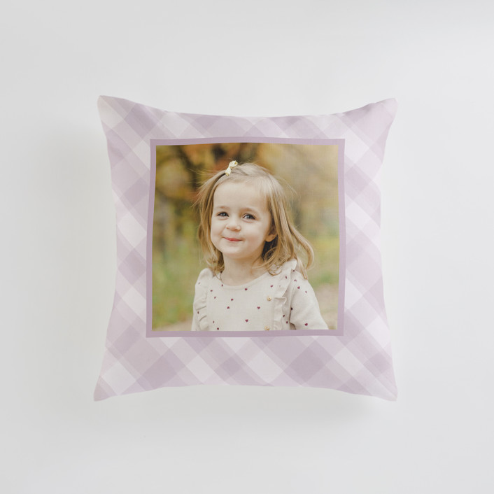"""""""Cadeau - Warm"""" - Small 18 Inch Photo Pillow in Lilac by Carrie ONeal."""