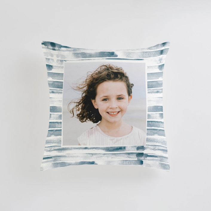"""Water Stripe"" - Small 18 Inch Photo Pillow in Ocean by Alethea and Ruth."