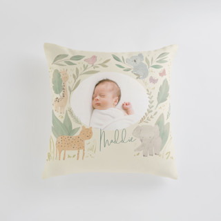 This is a yellow custom pillow by Creo Study called Safari kid printing on premium cotton in standard.