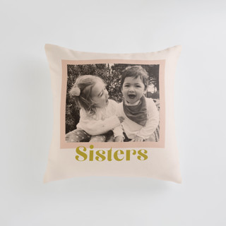 This is a pink custom pillow by Annie Clark called Tinted Frame printing on premium cotton in standard.