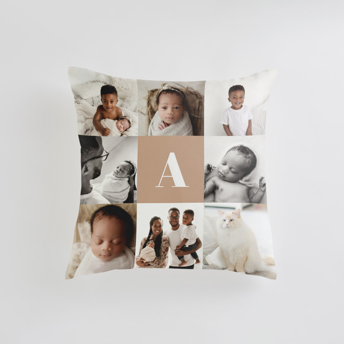 """""""Monogram Grid"""" - Small 18 Inch Photo Pillow in Mocha by Minted."""