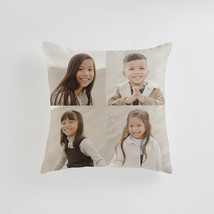 """""""Corner Quad"""" - Small 18 Inch Photo Pillow in Cream by Minted."""