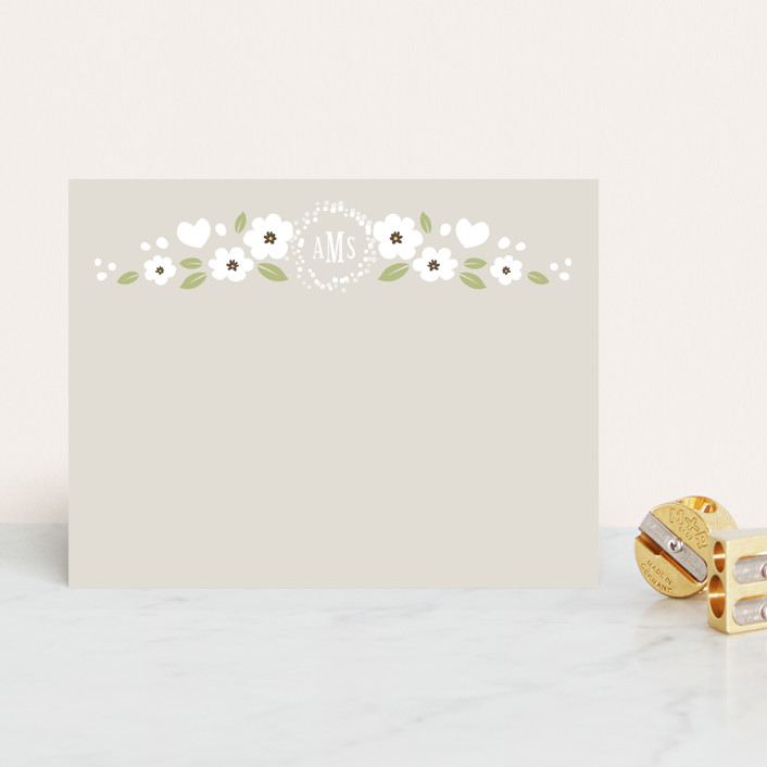 """White Flowers"" - Modern, Monogrammed Personalized Stationery in Slate by Four Wet Feet Studio."