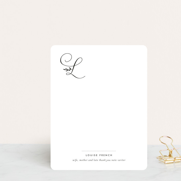 """""""Byline"""" - Monogrammed, Formal Personalized Stationery in Black by Sara Hicks Malone."""