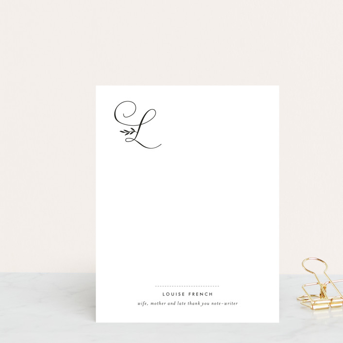 """Byline"" - Monogrammed, Formal Personalized Stationery in Black by Sara Hicks Malone."