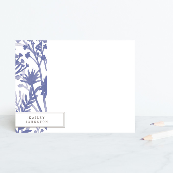 """Wildflowers"" - Classical, Floral & Botanical Personalized Stationery in Cornflower by cambria."