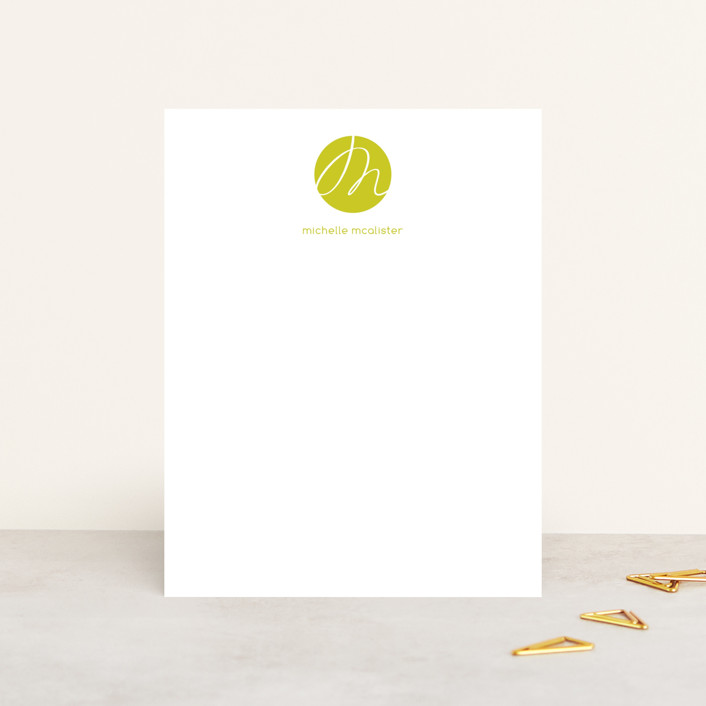 """""""Initial Here"""" - Modern, Monogrammed Personalized Stationery in Olive by Roxy Cervantes."""