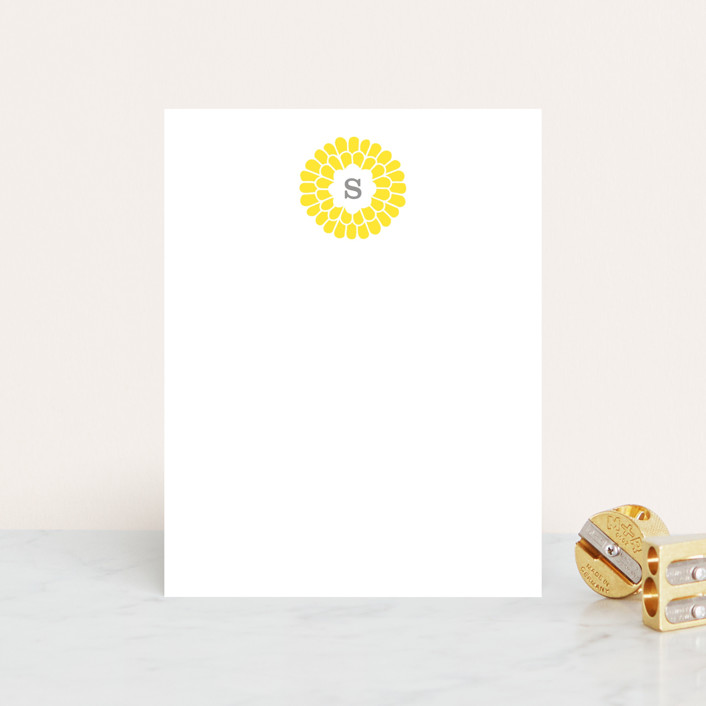 """Flower Burst"" - Floral & Botanical, Modern Personalized Stationery in Lemon by trbdesign."