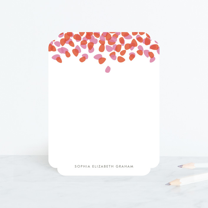 """Petal Shower"" - Personalized Stationery in Strawberry by Kristie Kern."