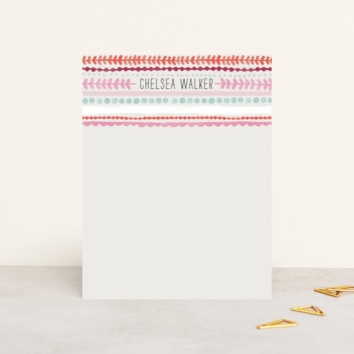 """""""Striped Lines"""" - Hand Drawn, Modern Personalized Stationery in Strawberry by Alethea and Ruth."""