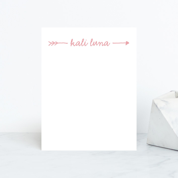 """Audrina"" - Hand Drawn, Modern Personalized Stationery in Strawberry by Waui Design."