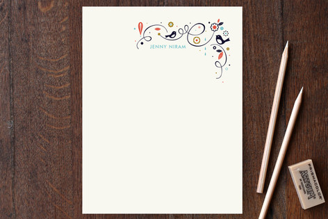 Swirly Bird Note Personalized Stationery