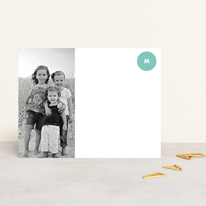 """Picture Perfect"" - Modern, Monogrammed Personalized Stationery in Aqua by trbdesign."
