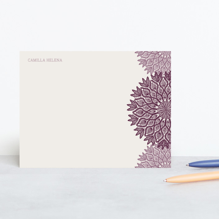 """Delicate Doily"" - Classical, Vintage Personalized Stationery in Lavender by Hyacinth Mine."