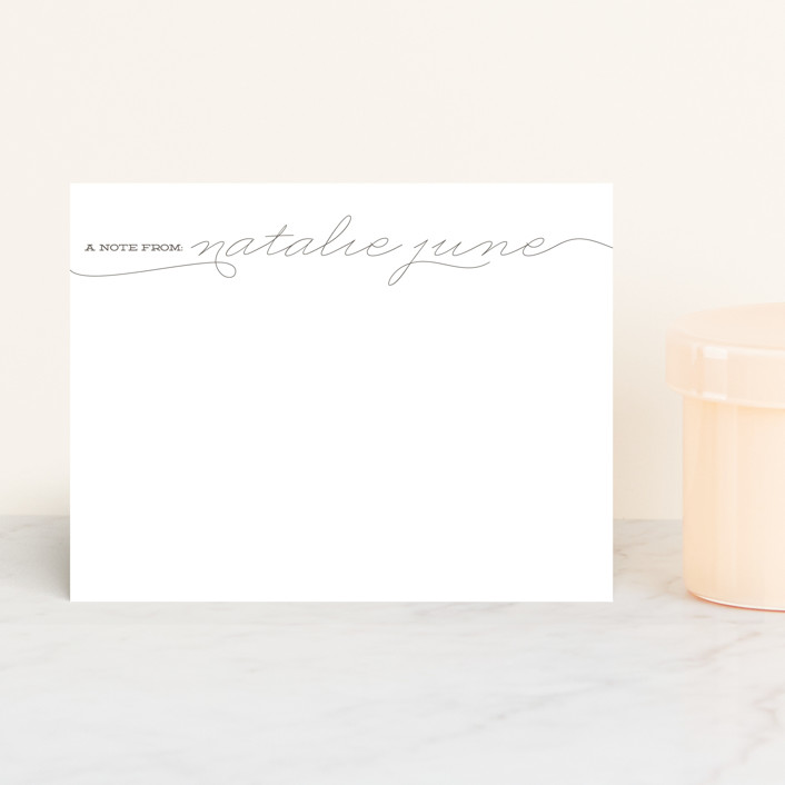 """The Perfectionist"" - Modern, Classical Personalized Stationery in Graphite by annie clark."