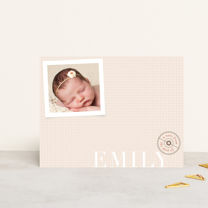 """Keepsake"" - Modern Personalized Stationery in Almond by nocciola design."