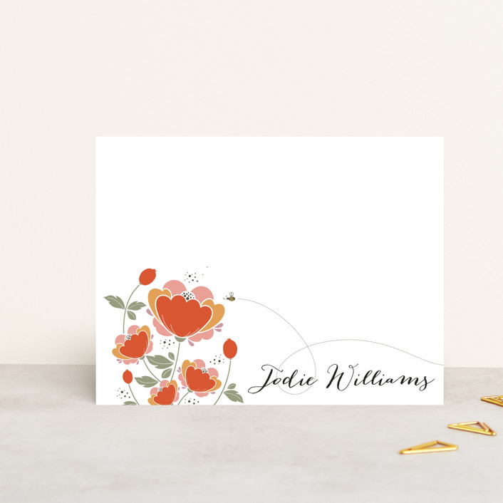 """Poppy Fields"" - Floral & Botanical, Classical Personalized Stationery in Deep Coral by Kayla King."