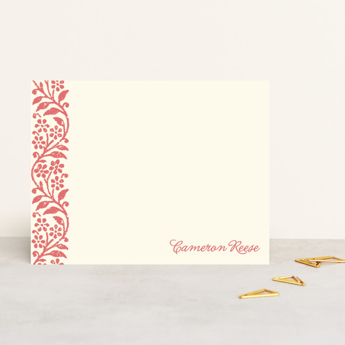 """Flower Stamp"" - Floral & Botanical, Minimalist Personalized Stationery in Amaranth by BeachPaperCo."