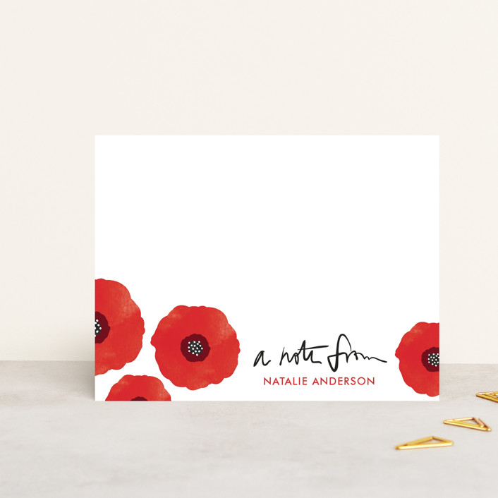 """Poppy Talk"" - Hand Drawn, Floral & Botanical Personalized Stationery in Blood Orange by Anna Elder."