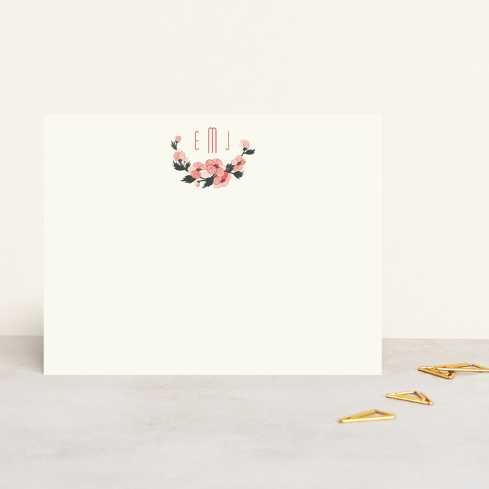 """Pink Blossoms"" - Floral & Botanical, Classical Personalized Stationery in Pink Rose by Four Wet Feet Studio."