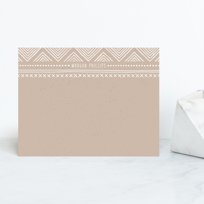 """Indio"" - Modern, Vintage Personalized Stationery in Linen by Amber Barkley."