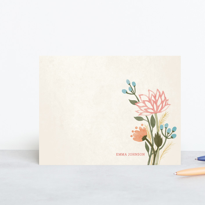 """Watercolor Lotus"" - Floral & Botanical, Minimalist Personalized Stationery in Petal by Four Wet Feet Studio."